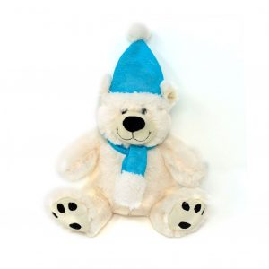 Polar bear with hat & scarf – 8″