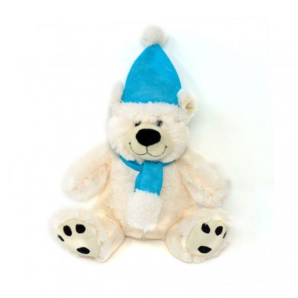 Polar bear with hat & scarf – 8″