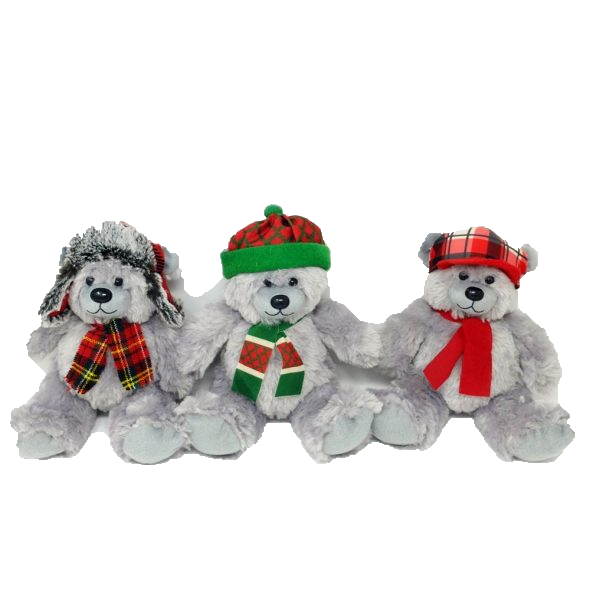 Grey Bears with Hats (Mixed) – 8″
