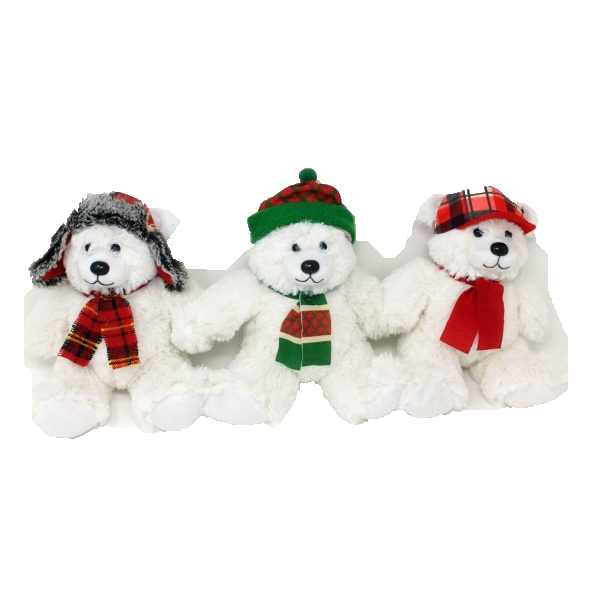 White Bears with Hats (Mixed) – 8″
