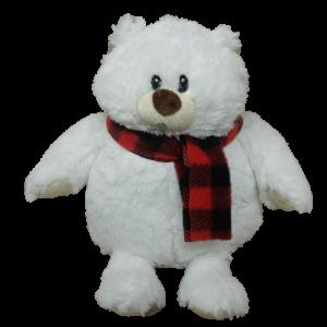 Xmas White Bear with scarf – 12″ (2 colours mixed per carton)